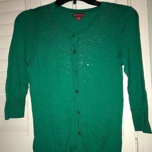 Merona XS Green sequined 3/4 sleeve cardigan